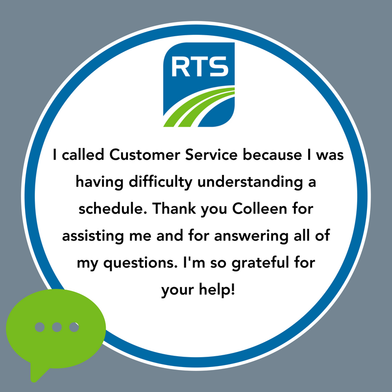 """I called Customer Service because I was having difficulty understanding a schedule. Thank you Colleen for assisting me and for answering all my questions. I'm so grateful for your help!"""